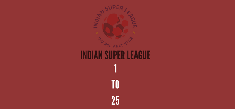 Indian Super League 1 to 25
